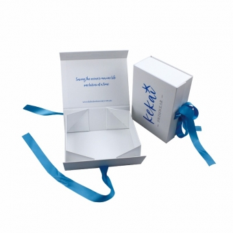 Foldable Gift Box With Ribbon Tie