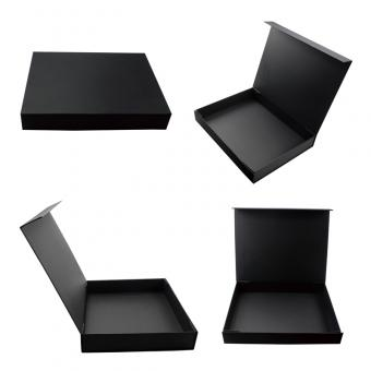 Black simple no logo plain small flat cardboard foldable boxes