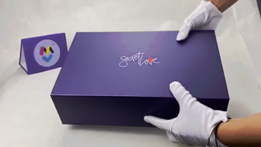 Custom Purple Color Printed Magnetic Gift Box with diecutted EPE foam