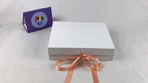 Custom White Gift Box with UV Coating and Ribbon Closure