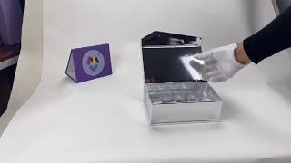 Custom Printed Metallic Silver Card Magnetic Gift Box with Plastic Insert